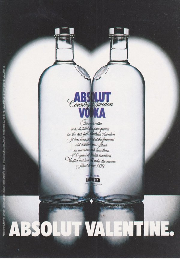 ABSOLUT VALENTINE (Valentinstag) - Absolut Vodka Sweden - Take-It-FreeCard aus Thailand