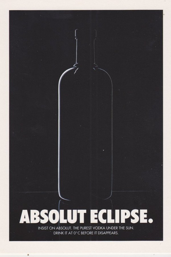 ABSOLUT ECLIPSE (Verdunkelung) - Absolut Vodka Sweden - Promo-Card aus Italien
