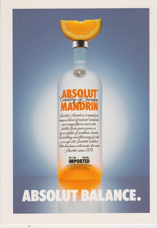 ABSOLUT BALANCE (Waage) - Absolut Vodka Sweden - Promo-Card aus Italien