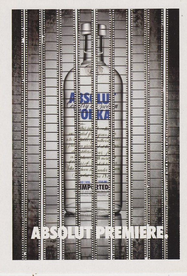 ABSOLUT PREMIERE  (Erstaufführung) - Absolut Vodka Sweden - Promo-Card aus Italien