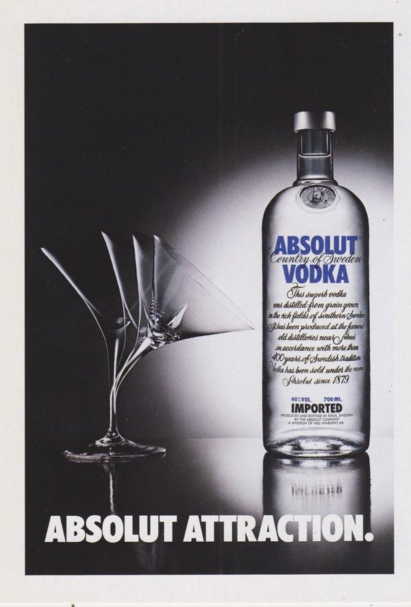 ABSOLUT ATTRACTION  (Anziehung) - Absolut Vodka Sweden - Promo-Card aus Italien