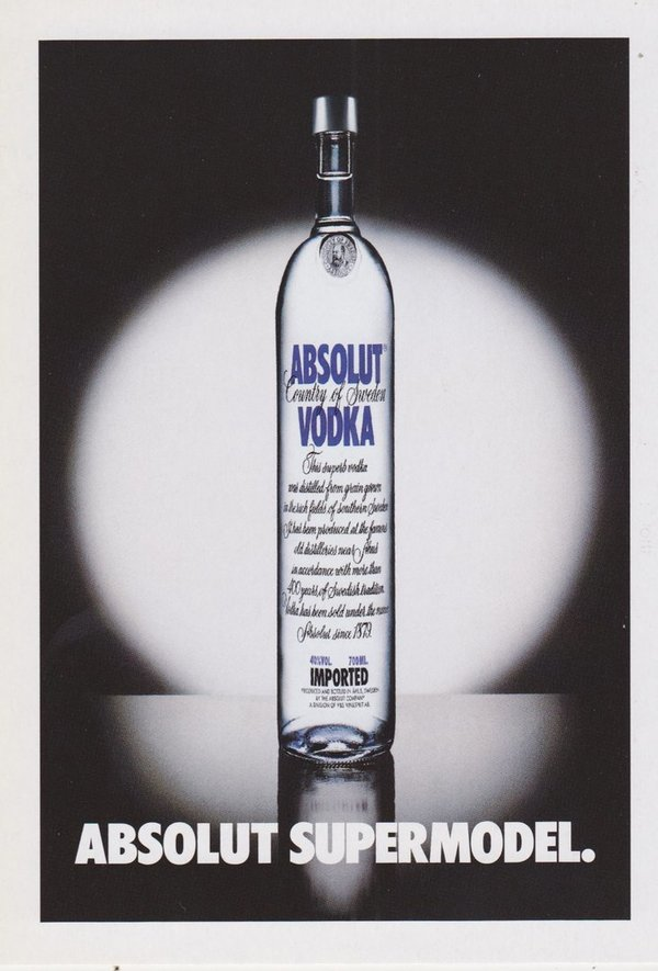 ABSOLUT SUPERMODEL (Supermodel) - Absolut Vodka Sweden - Promo-Card aus Italien