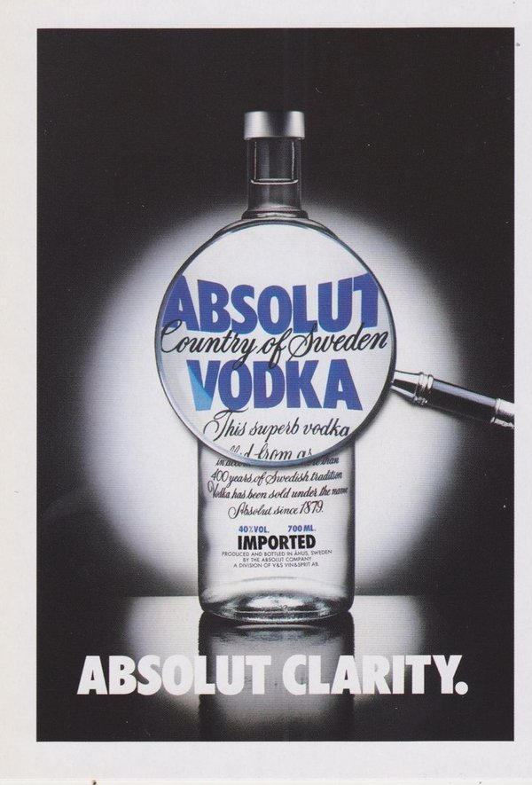 ABSOLUT CLARITY (Klarheit) - Absolut Vodka Sweden - Promo-Card aus Italien