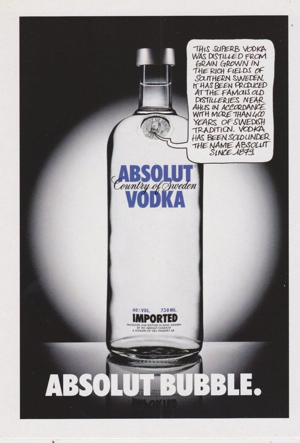 ABSOLUT BUBBLE (Sprechblase) - Absolut Vodka Sweden - Promo-Card aus Italien