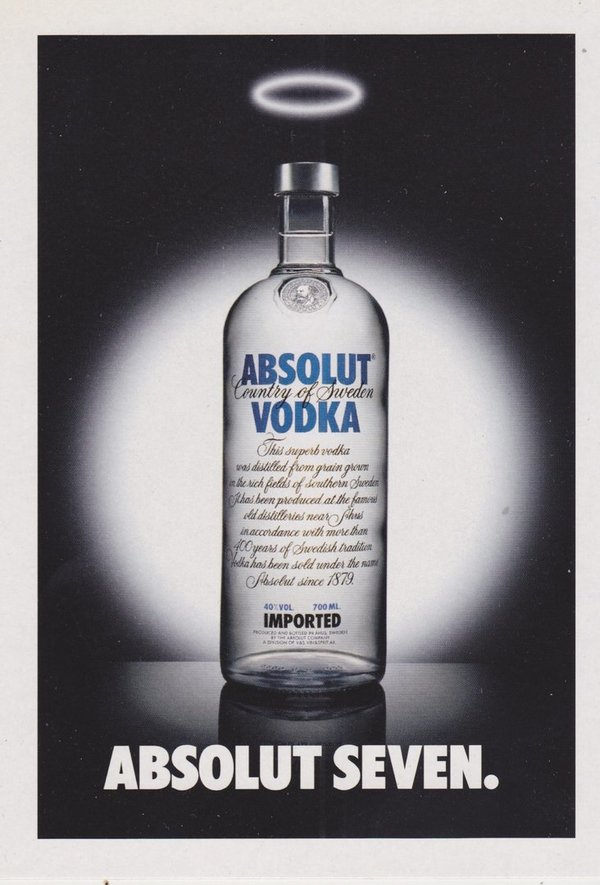 ABSOLUT SEVEN (Sünden-Vergebung) - Absolut Vodka Sweden - Promo-Card aus Italien