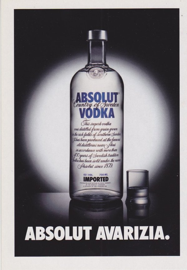 ABSOLUT AVARIZIA (Ehrgeiz) - Absolut Vodka Sweden - Promo-Card aus Italien