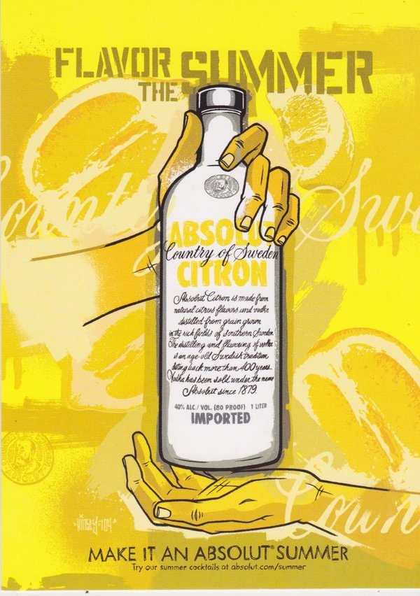 ABSOLUT CITRON - Flavor the summer - Absolut Vodka Sweden - Max-Racks-Card aus USA