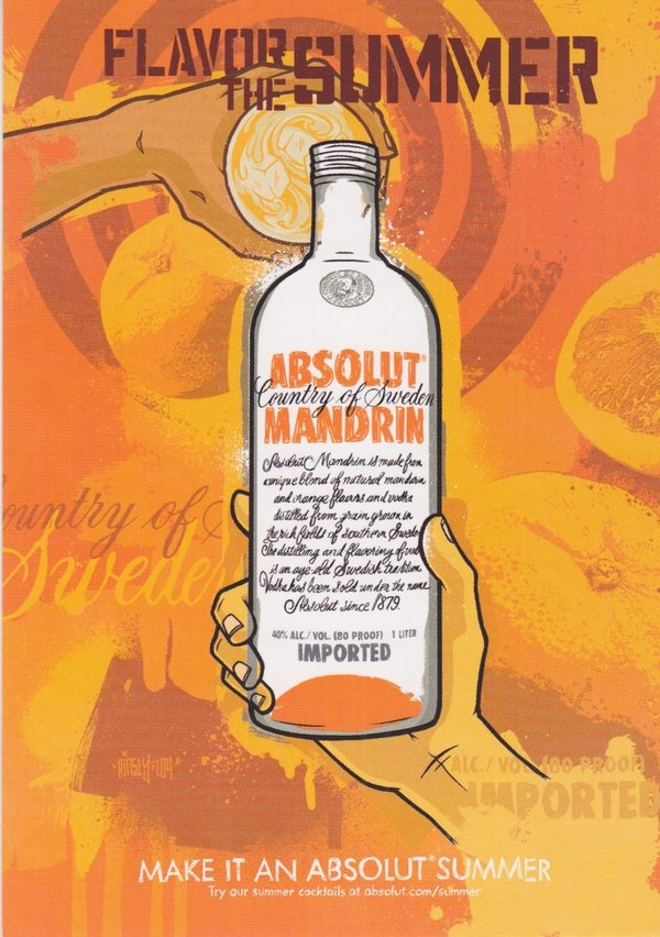ABSOLUT MANDRIN - Flavor the summer - Absolut Vodka Sweden - Max-Racks-Card aus USA