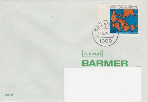 BERLIN 616 - Standardbrief in Berlin - mit Letzttags-Tagesstempel vom 31-12-1991